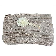 Padoora Newborn Stretch Cheesecloth Baby Wrap Flower Headband Photography Photo Props(beige)