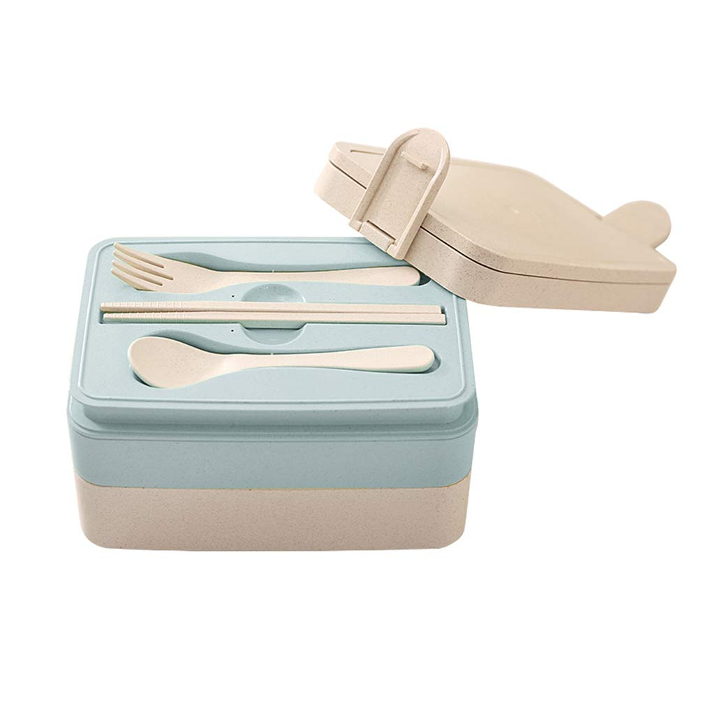 Bento box Japanese lunch box lunch box student with cover Korea cute 2 layer grid microwave oven portable lunch box (Color : BLUE, Size : 18.812.510.5CM)