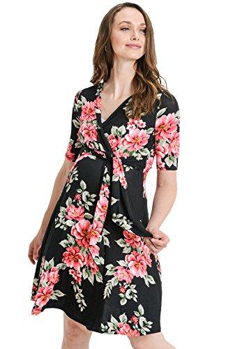 Hello MIZ Women's Floral Faux Wrap Side Tie Nursing and Mate