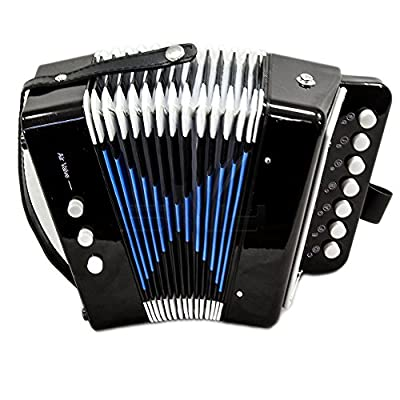 Paititi Kid's Accordion Black Color 7 Button 2 Bass Kid Music Instrument Easy to Play Musical Toy