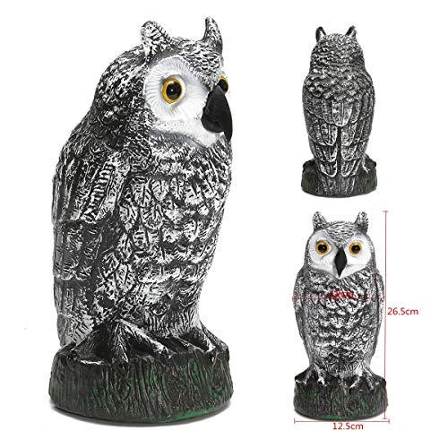 Mercury_Group (Set of 1) - Plastic Standing Fake Owl Hunting Decoy Deterrent Scarer Repeller Garden Decor