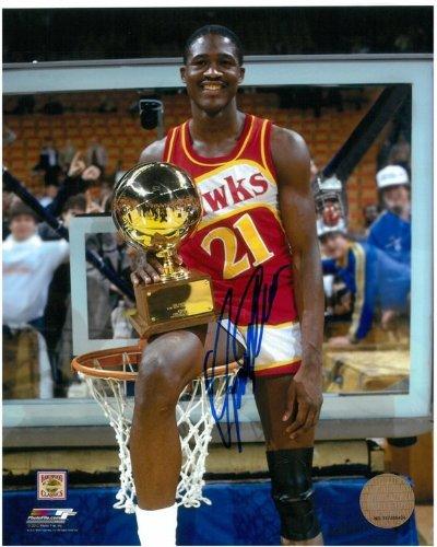Autographed Slam Dunk - Dominique Wilkins Autographed Atlanta Hawks 8x10 Photo #5 - 1985 Slam Dunk Champion