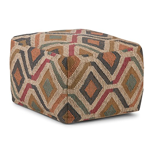 Simpli Home AXCPF-12 Johanna Transitional Square Pouf in Kilim Patterned Jute, Fully Assembled