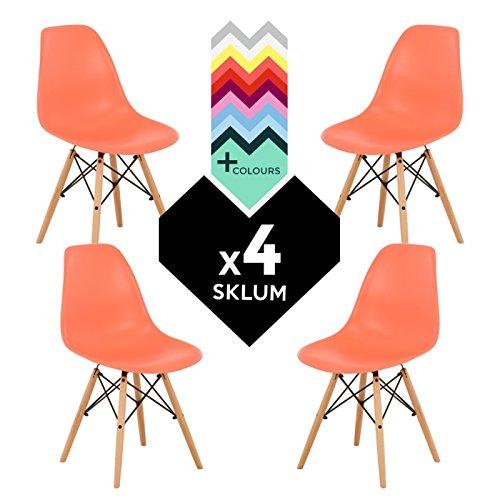 SKLUM Pack 4 Sillas Estilo Nórdico IMS Naranja Salmón Madera Natural