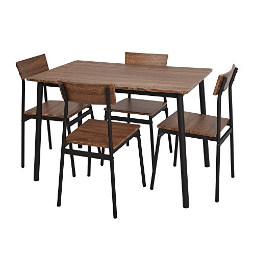 Dporticus 5-Piece Kitchen & Dining Room Sets Rustic Industrial Style Wooden Kitchen Table and Chairs With Metal Legs- Brown (Dinette Sets Retro)