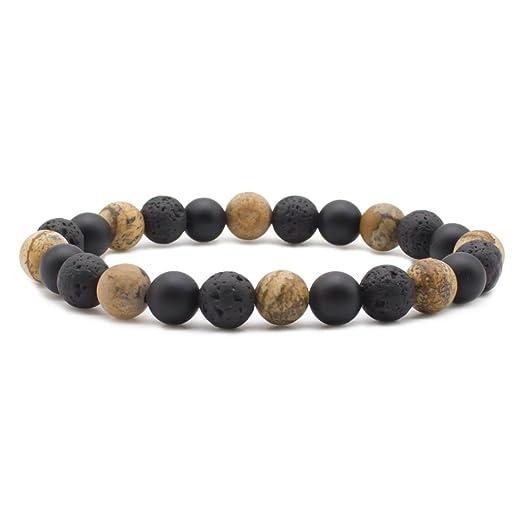 Bivei Aromatherapy Lava Stone Essential Oil Diffuser Bracelet Semi Precious Gemstone Round Beads Crystal Bracelet x6WWRx