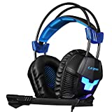 LETTON G9 PC Gaming Headset USB Surround Stereo Wired Over Ear Headphones with Mic Revolution Volume Control Noise Canceling LED Light for PC and MAC (Blue/Black)