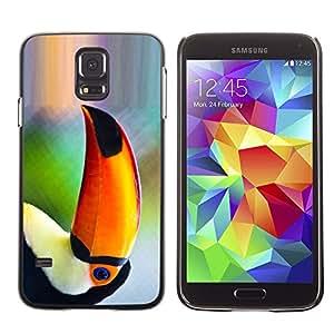 TopCaseStore / la caja del caucho duro de la cubierta de protección de la piel - Parrot Bird Tropical Nature Orange Rainforest - Samsung Galaxy S5 SM-G900
