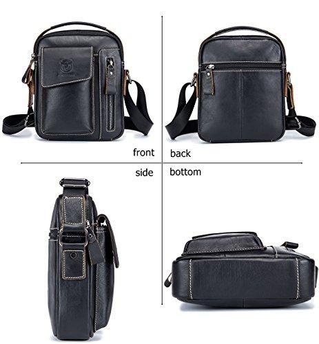Genuine Leather Men Bags Small Shoulder Crossbody Bag for Men Everyday Casual Travel Messenger Bag Handbag (black) by BULLCAPTAIN (Image #1)