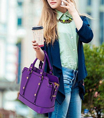 ANNA GRACE - Bolso de asas de piel sintética para mujer Design 1 - Purple