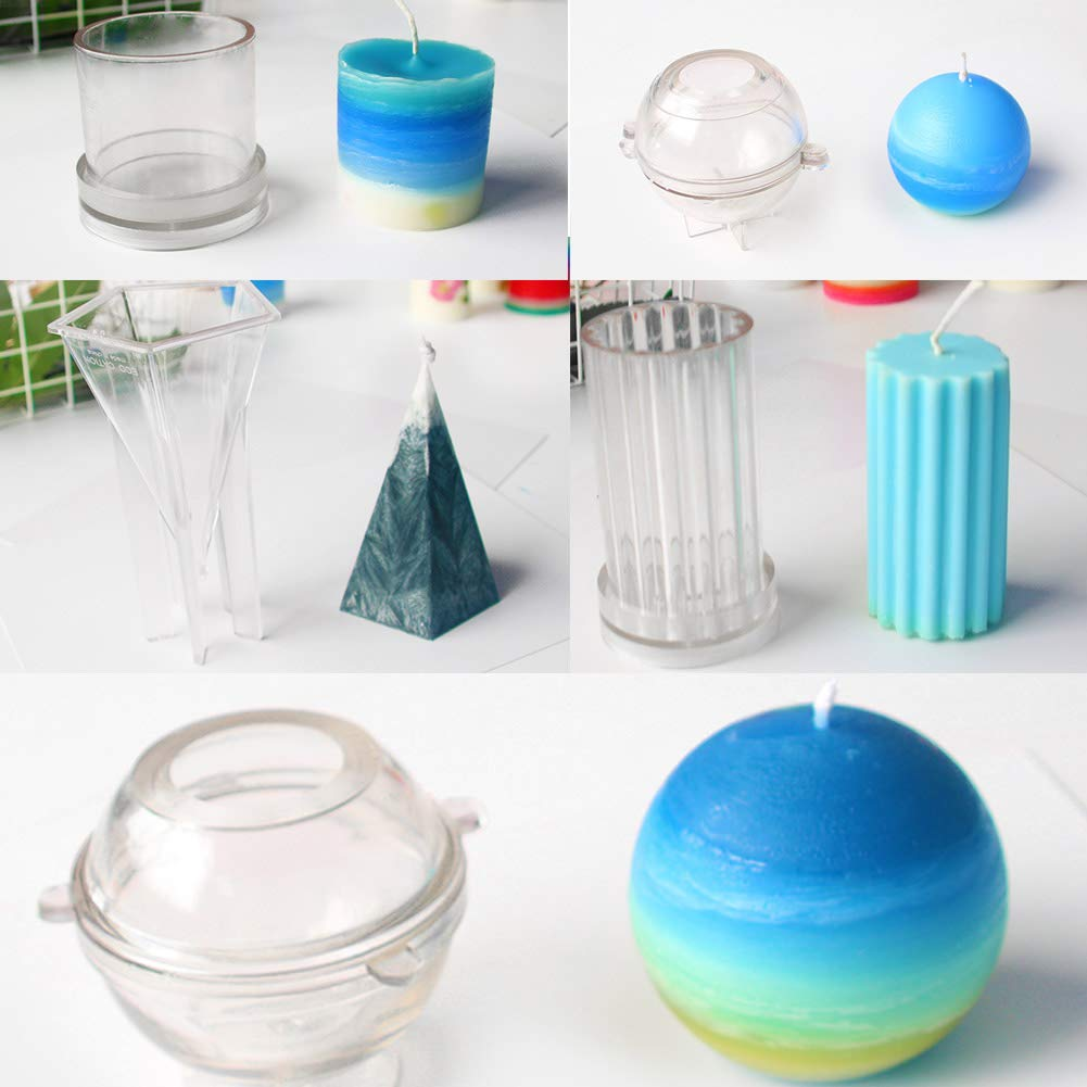 Lzttyee 10Pcs Clear Acrylic Candle Molds Set DIY Candle Making Supplies Casting Molds Kit for Birthday/Christmas/Valentine's Day by Lzttyee (Image #3)