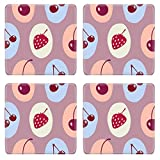 MSD Square Coasters Non-Slip Natural Rubber Desk Coasters design 26770659 vector seamless pattern with berry