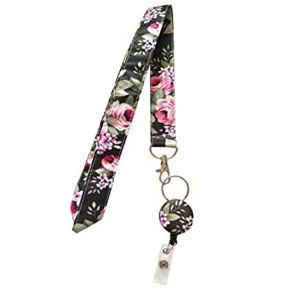 9ece7f11f1ee Surlove Womens Office Flower Neck Strap Retractable Fabric Lanyards for  Keys Keychains Nurse Badge Holder (Black)