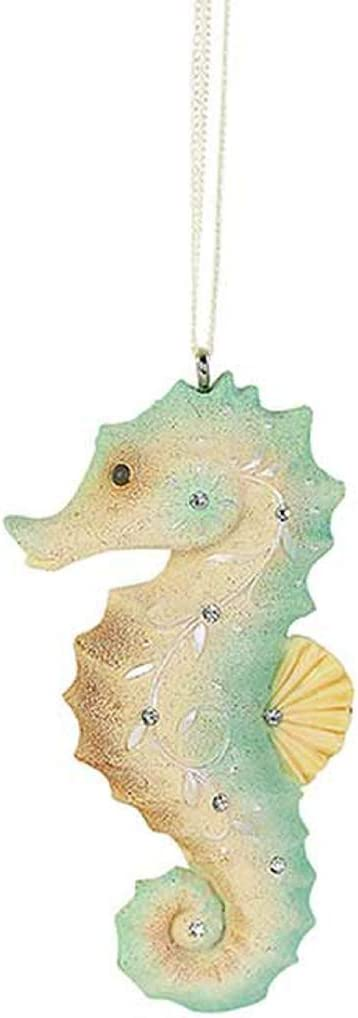 Enesco Heart of Christmas Coastal Seahorse Hanging Ornament, 3.15 Inch, Multicolor