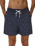 SILKWORLD Men's Swim Shorts Quick Dry Bathing Suit with Mesh Lining,Navy Sailboat(P4),X-Small