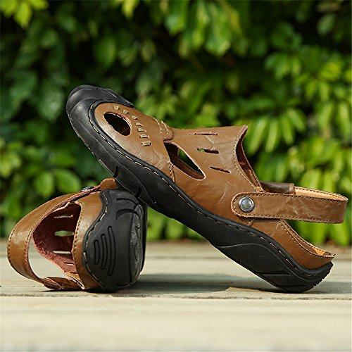 Khaki vera pelle Scarpe dimensione da in EU Colore spiaggia da 44 uomo uomo Jiuyue da shoes Sandali Orange gqYTfX