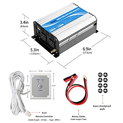 Power Inverter Pure Sine Wave 600Watt 12V DC to 110V 120V with Remote Control Dual AC Outlets and USB Port for CPAP RV Car Solar System Emergency