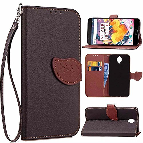 OnePlus 3T Case, OnePlus 3 Case,GX-LV OnePlus Three [Card Slot][Wrist Strap] Wallet Slim PU Leather Case Flip Magnetic Cover For One Plus 3/3T,L-Black