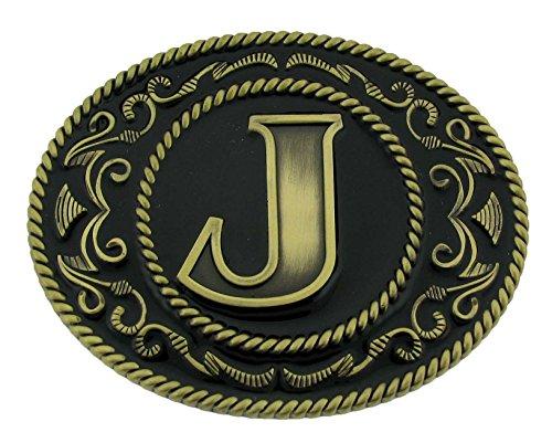 Initial Letter J Name Monogram Western Cowboy German Silver Siskiyou Belt Buckle