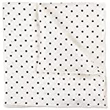 100% Silk Twill Solid White Pocket Square Gift Boxed by Puentes Denver (White Polka Dot)