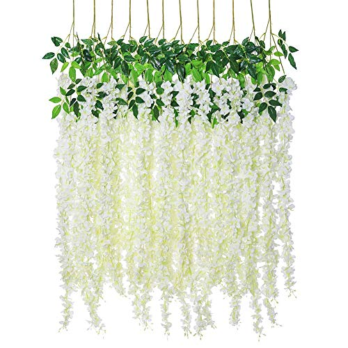Artificial Silk Wisteria Vine Rattan Garland Fake Hanging Flower Wedding Party Home Garden Outdoor Ceremony Floral Decor,4.6 ft, 6 Pieces (White-3)