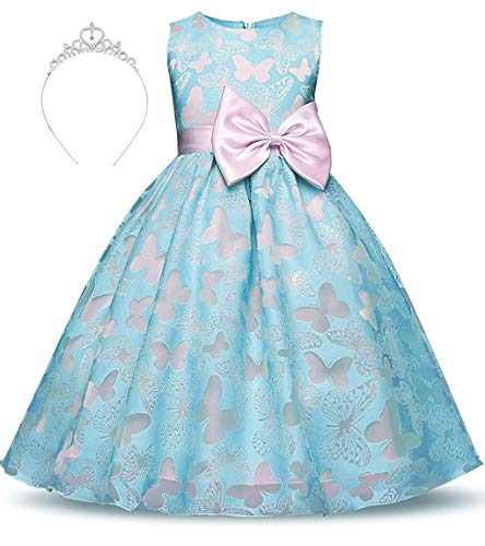 Belt Princess Crown (Girls Princess Dress Embroidered Butterfly Tulle Bowknot Belt with Accessories Crown Age of 4-5 Years(Blue))