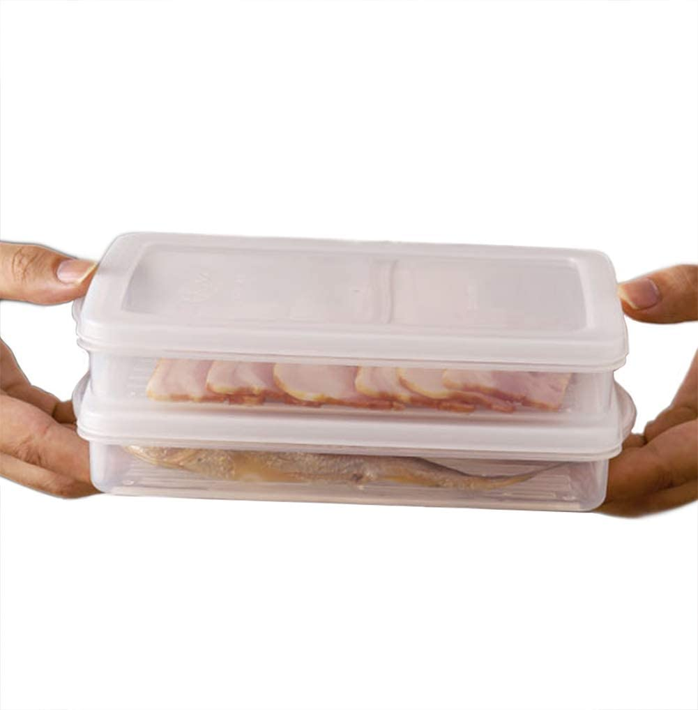 2 Pack-Plastic Bacon Storage Containers with Lids Airtight Deli Meat Cold Cuts Cheese Thinly Cut Meat Saver Food Storage Containers for Bacon Refrigerators, Freezer, Meal prep container