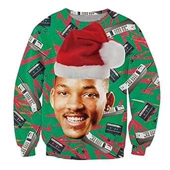 Amazon.com: SUNY Man Will Smith Ugly Christmas Sweater Hip Hop ...