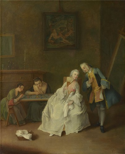 Oil Painting 'Pietro Longhi A Lady Receiving A Cavalier', 24 x 30 inch / 61 x 75 cm , on High Definition HD canvas prints is for Gifts And Bath Room, Bed Room And Dining Room Decoration - Classroom Lock Plymouth