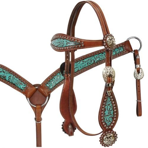 Showman Teal Turquoise Blue Filigree Bridle Reins Breast Collar Medium Leather Horse Size