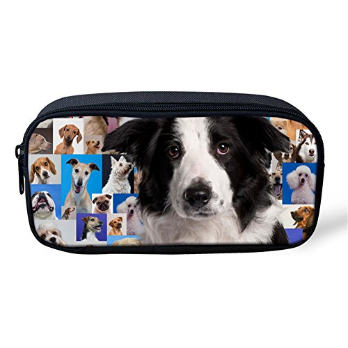 Pencil Pen Case Travel Cosmetic Makeup Bag Pouch Holder Box Organizer Border Collie Puppy Purikura (Collie Box Gift)