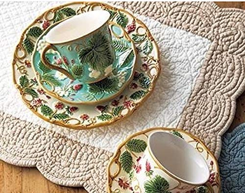 (Aragonimports Boutis French Quilted Sonia Ecru/Cream Place mats Set of 6 ;Reversible Size: 14