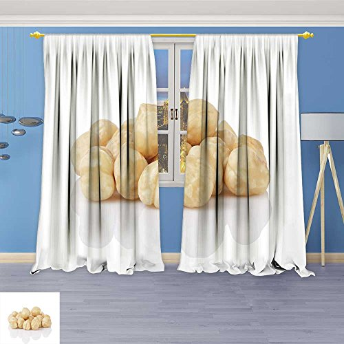 SOCOMIMI Thermal Insulated Blackout Curtain heap of Peeled Hazelnuts Isolated Living Room Bedroom Window Drapes 2 Panel Set 120W x 108L inch