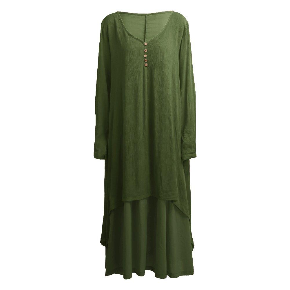 9ee6d92923e49 Romacci Women Boho Dress Casual Irregular Maxi Dresses Vintage Loose Long  Sleeve Cotton Viscose Dress,S-5XL