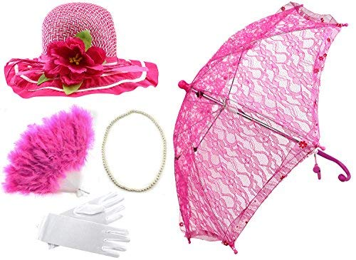 Enimay Girl's Costume Tea Party Set Fan Hat Necklace Umbrella Gloves Hot Pink