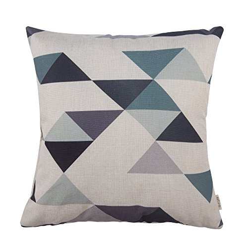 Cotton Linen Fjfz Home Decorative Throw Pillow Case Cushion Cover for Sofa Couch Modern Geometric Pattern, Black and Turquoise 18