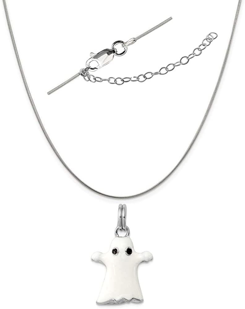 Sterling Silver Anti-Tarnish Treated White Enamel Ghost Charm on an Adjustable Chain Necklace