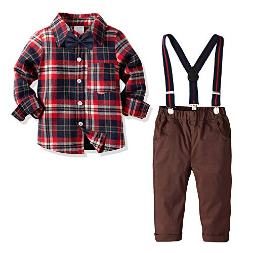 Yilaku Boys Plaid Flannel Shirt Jeans Set Long Sleeves Shirt+Suspender Pants+Bow Tie Toddler 4Pcs Set(2-3T)