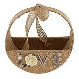 Agordo Hessian Burlap Jute Bow Rose Love Flower Girl Basket Rustic Wedding Ceremony