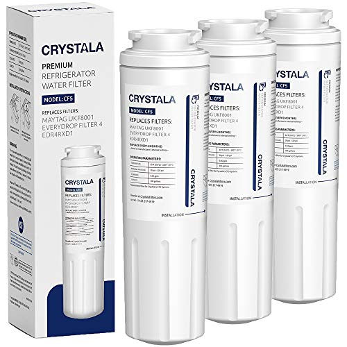 UKF8001 Water Filter, Compatible with Refrigerator Water Filter Whirlpool 4396395, Filter 4, Maytag UKF8001, EDR4RXD1, UKF8001AXX, UKF8001P, Puriclean II, 469006, by Crystala Filters (3 Pack) Amana Replacement Water Filters