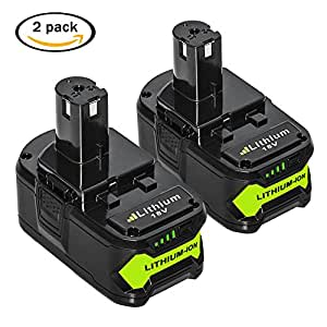 Mrupoo P108 18V 5000mAh Lithium Battery Pack Replacement for Ryobi 18-Volt ONE+ P104 P105 P102 P103 P107 P507 BPL-1815 BPL-1820G BPL18151 BPL1820 Cordless Power Tools(2 Pack)