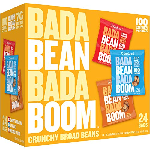 - Enlightened Bada Bean Bada Boom Plant-based Protein, Gluten Free, Vegan, Non-GMO, Soy Free, Roasted Broad Fava Bean Snacks, The Classic Box Variety Pack, 1.0 oz, 24Count