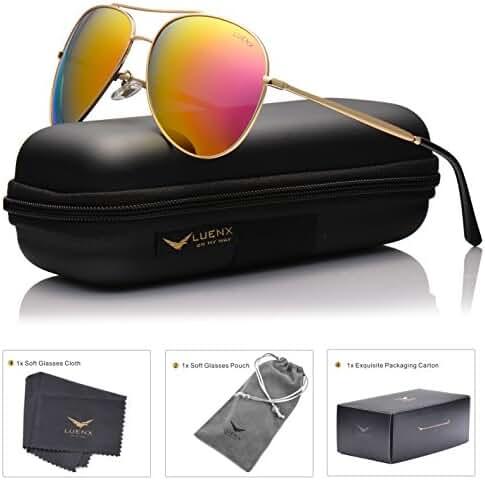 LUENX Aviator Sunglasses Polarized for Men & Women with Case - 400 UV Mirrored Lens 58mm