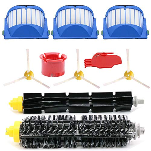 ouxinli Irobot Roomba 600 610 620 650 Filter Brush Replacement Part Kit - Includes 3 Pack Filter, Side Brush, and 1 Pack Bristle Brush and Flexible Beater Brush, 1 Pack Cleaning Tool