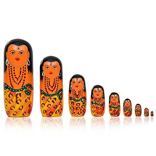 Fine Craft India Shiva Stacking Set of 9 Wooden Russian Nesting Dolls
