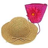 YOPINDO Girl Hat Purse Set Straw Sun Hat Floppy Summer Beach Cap with Hand Bag (Hot Pink)