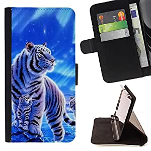 For Motorola Moto E 2nd Generation Winter Snow Cub Tiger White Blue Nature Style PU Leather Case Wallet Flip Stand Flap Closure Cover