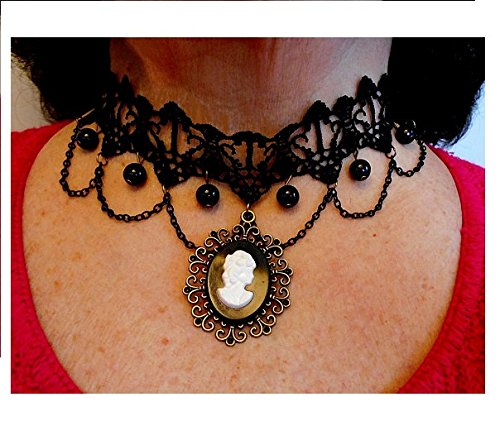 Something Old, Something New, Lolita Black Lace Choker Adjustable with Vintage Black & White Cameo, Faux Black Pearl Dangle.