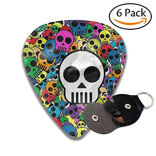 C-Emily Colorful Skull 351 Shape Classic Guitar Picks (6 Pack) For Electric Guitar, Acoustic Guitar, Mandolin, And Bass (Thin, Medium, Heavy)