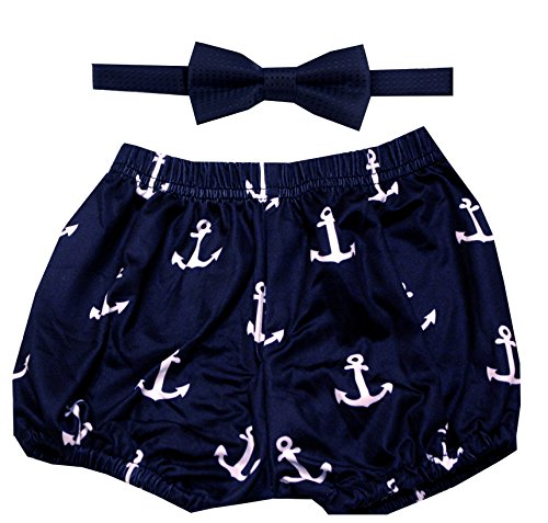 Gentlemen Ties Cake Smash Outfit Boy First Birthday Includes Bloomer Shorts and Bow Tie (Navy Blue White Anchor Shorts and Navy Blue Bow)